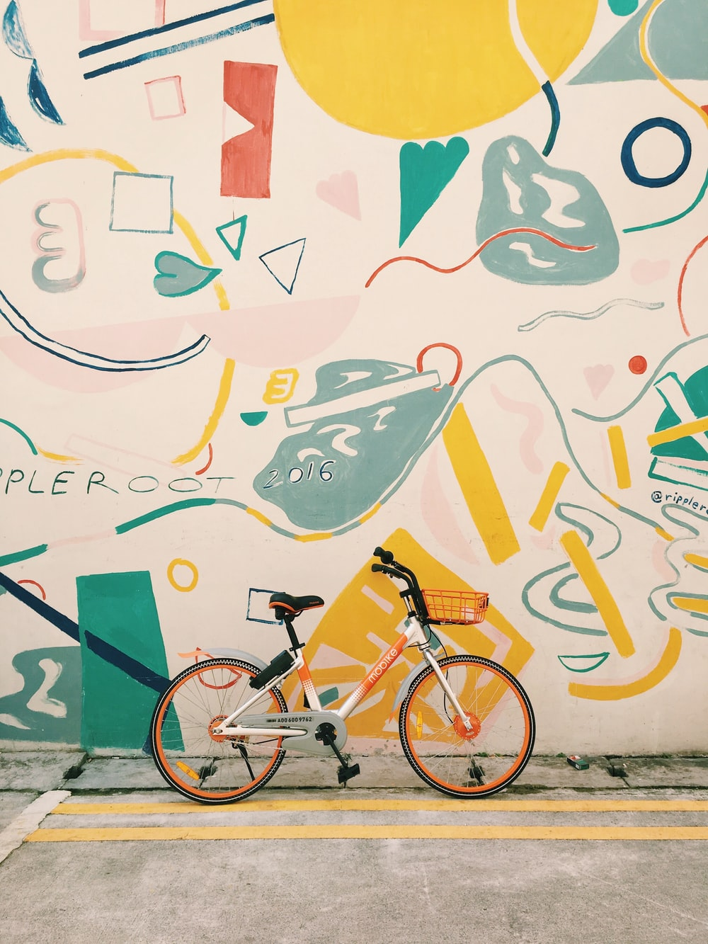 photography of orange and white bicycle