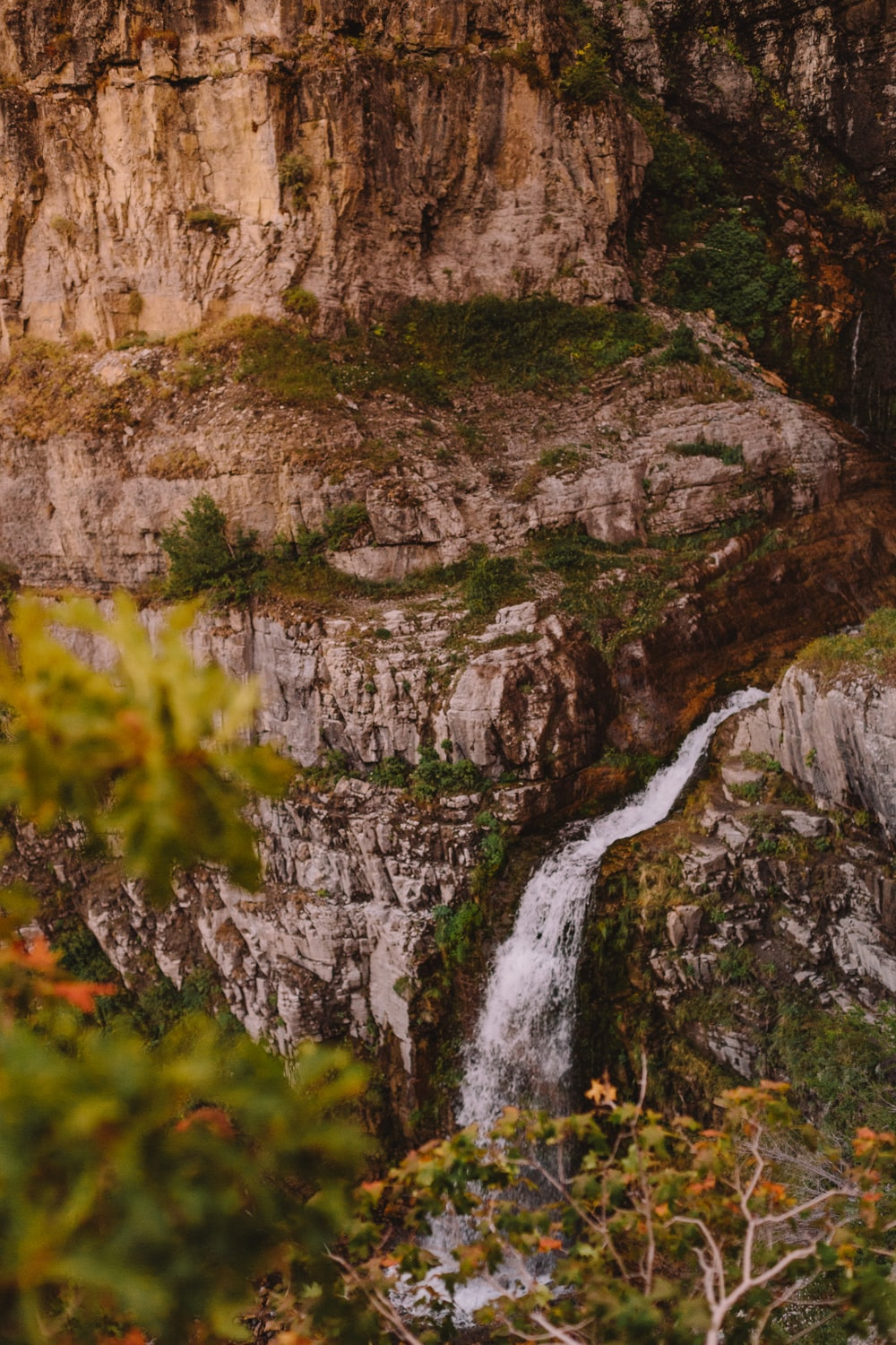 landscape photo of mountain and waterfalls