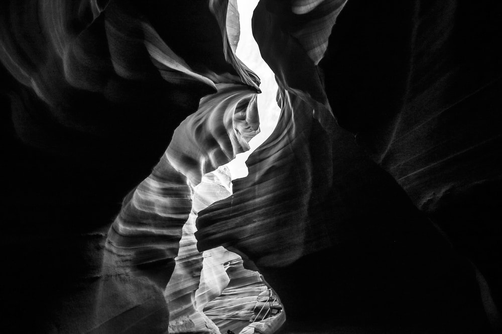 Antelope Canyon grayscale photography