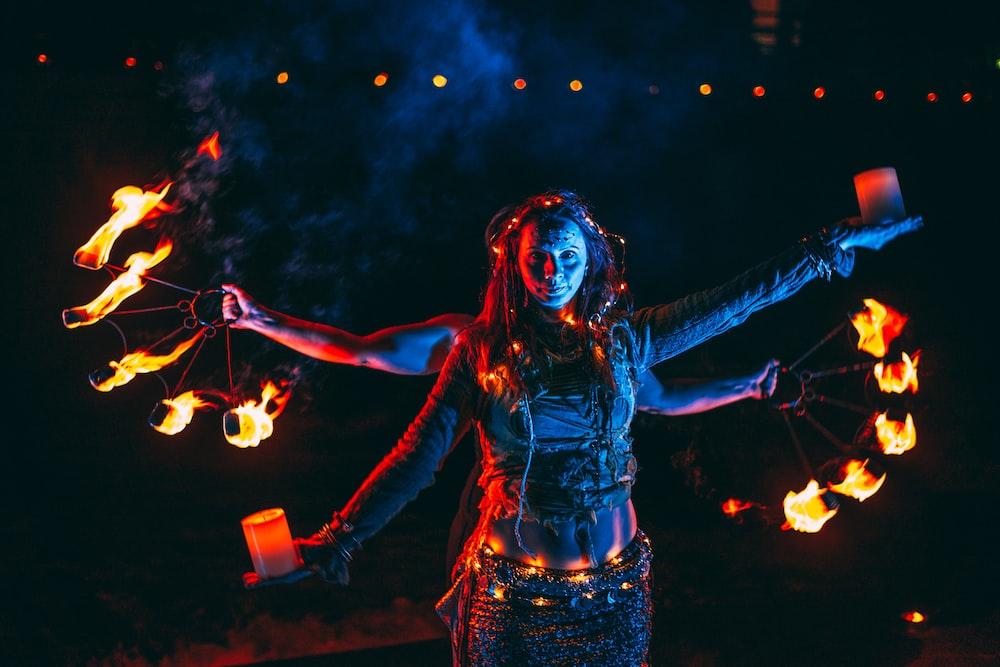 woman fire dancing