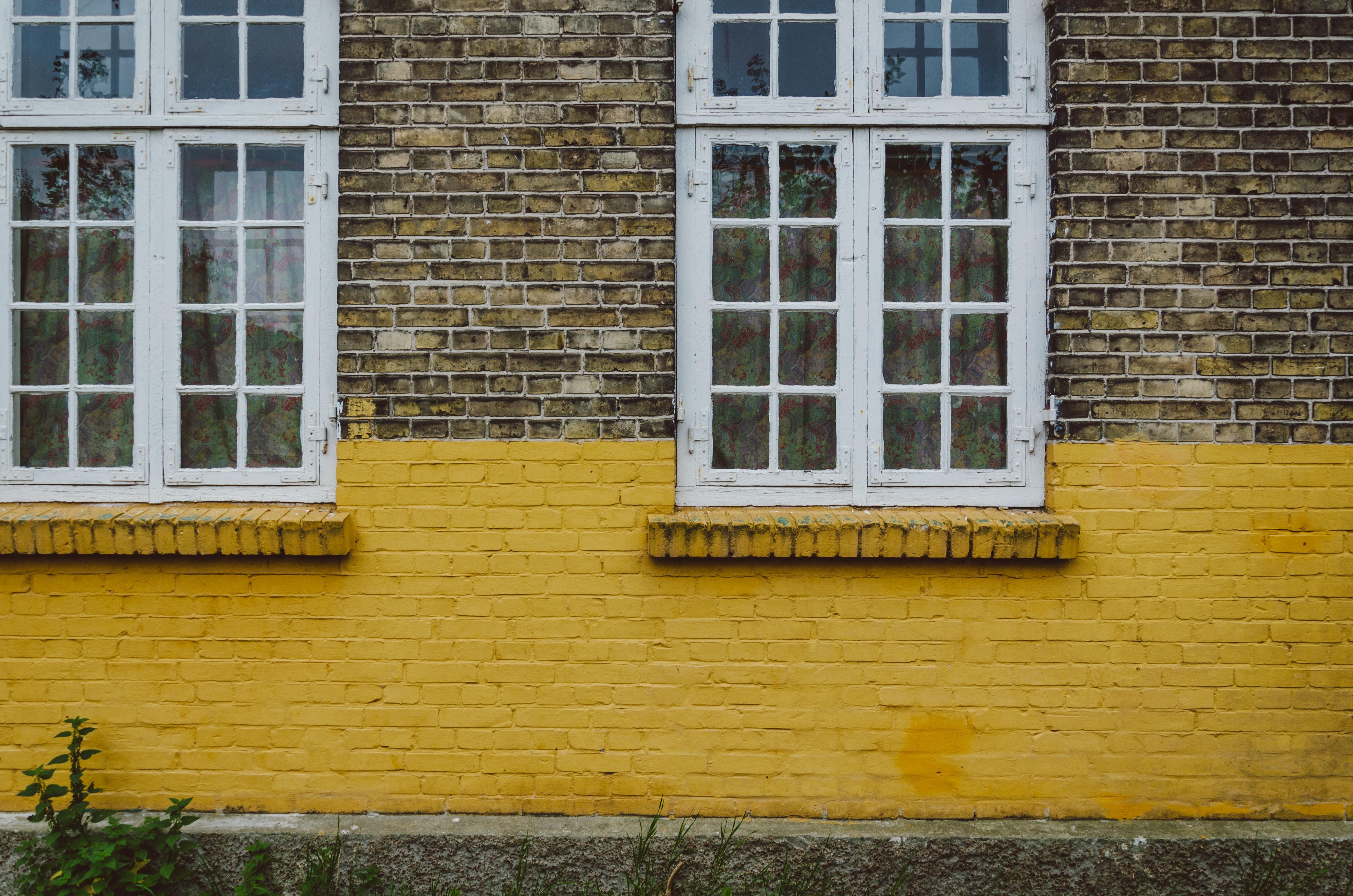 glass window panes on wall