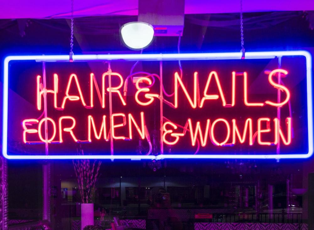 Hair & Nails neon signage