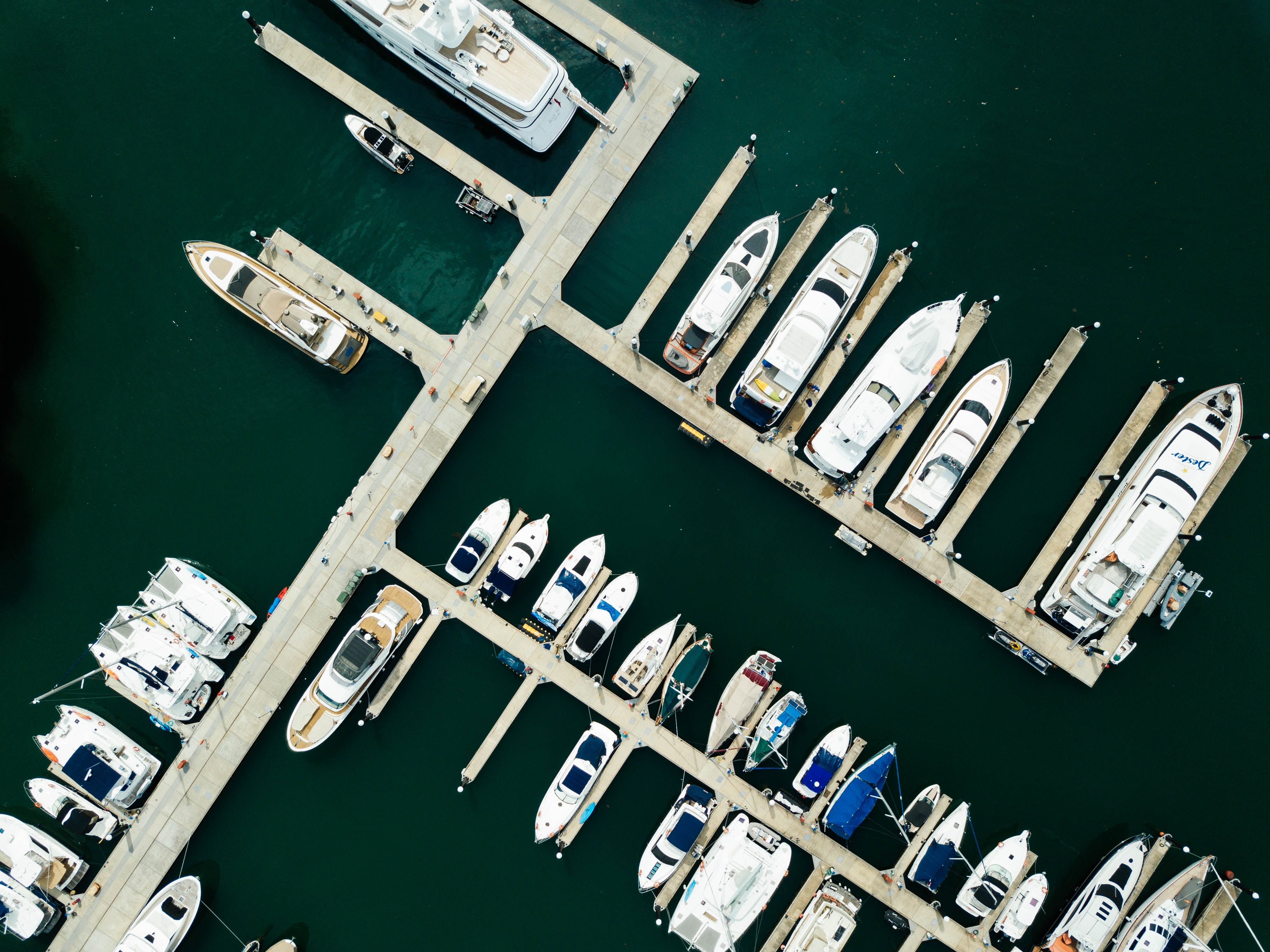 birds eye photography of docked boats
