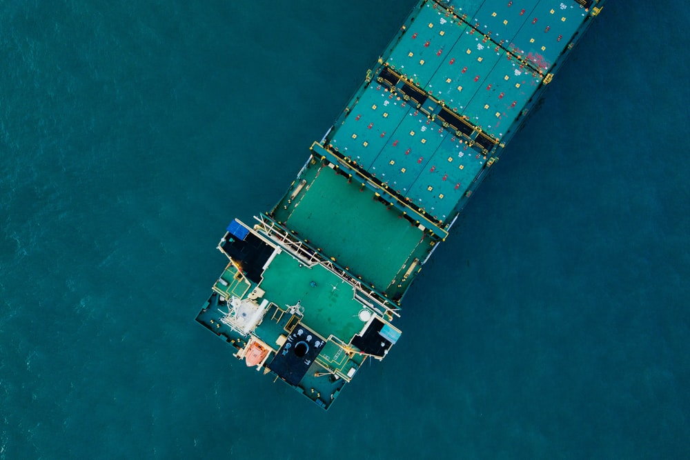 aerial photography of cargo boat