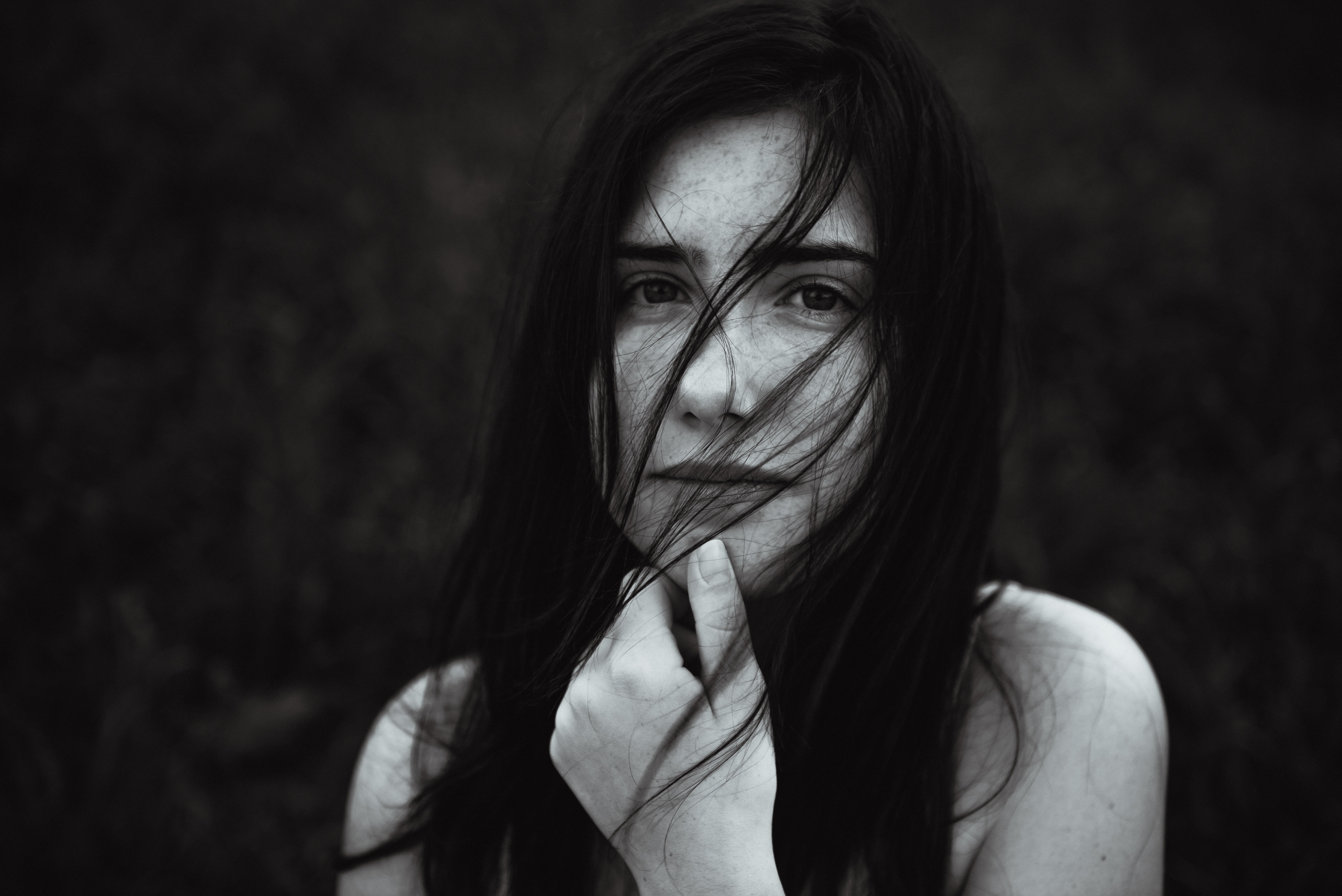 grayscale photography of woman with long hair