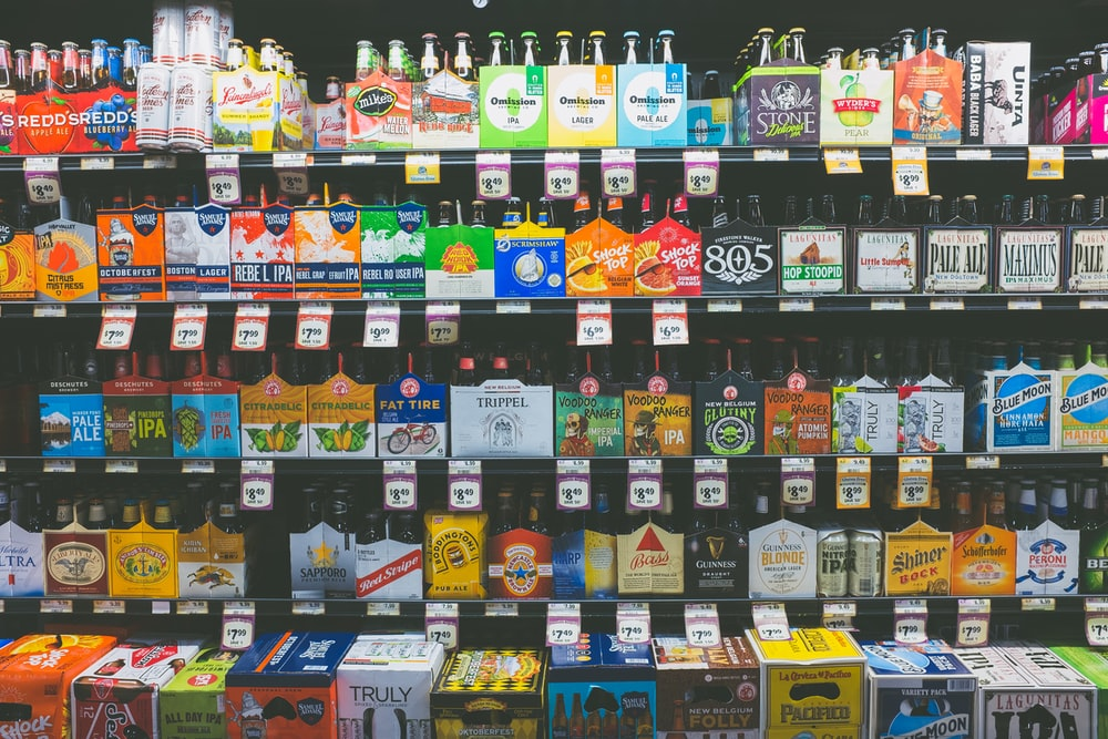 assorted products on shelf