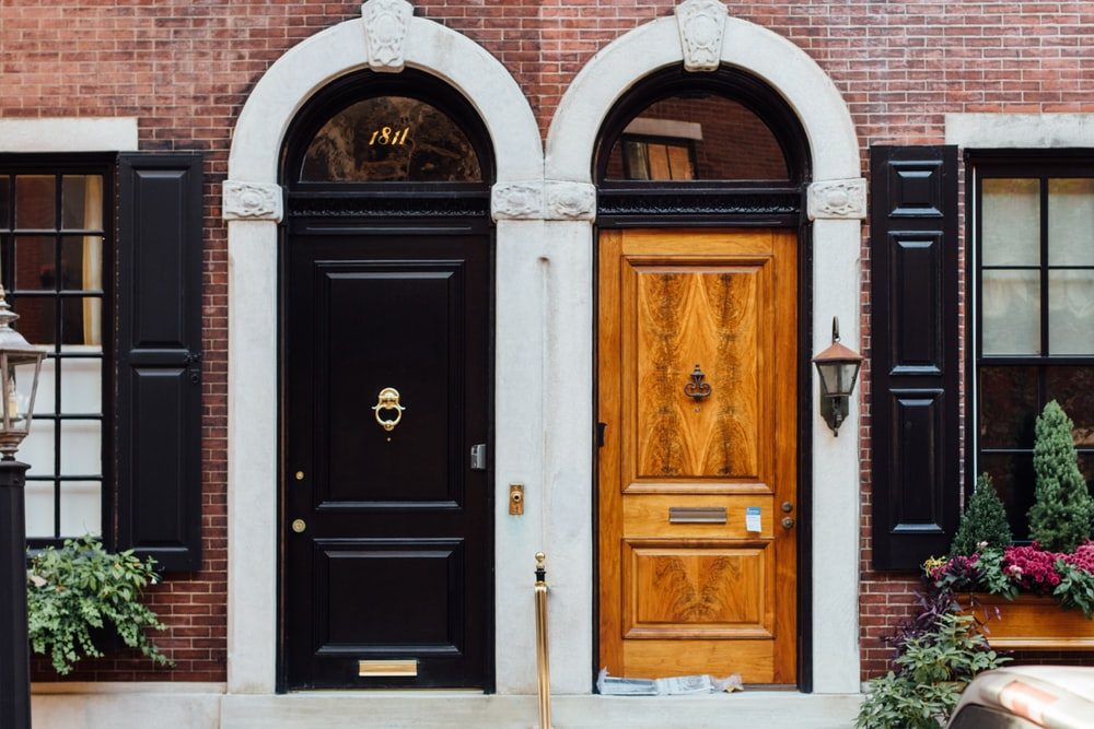 black and brown wooden doors