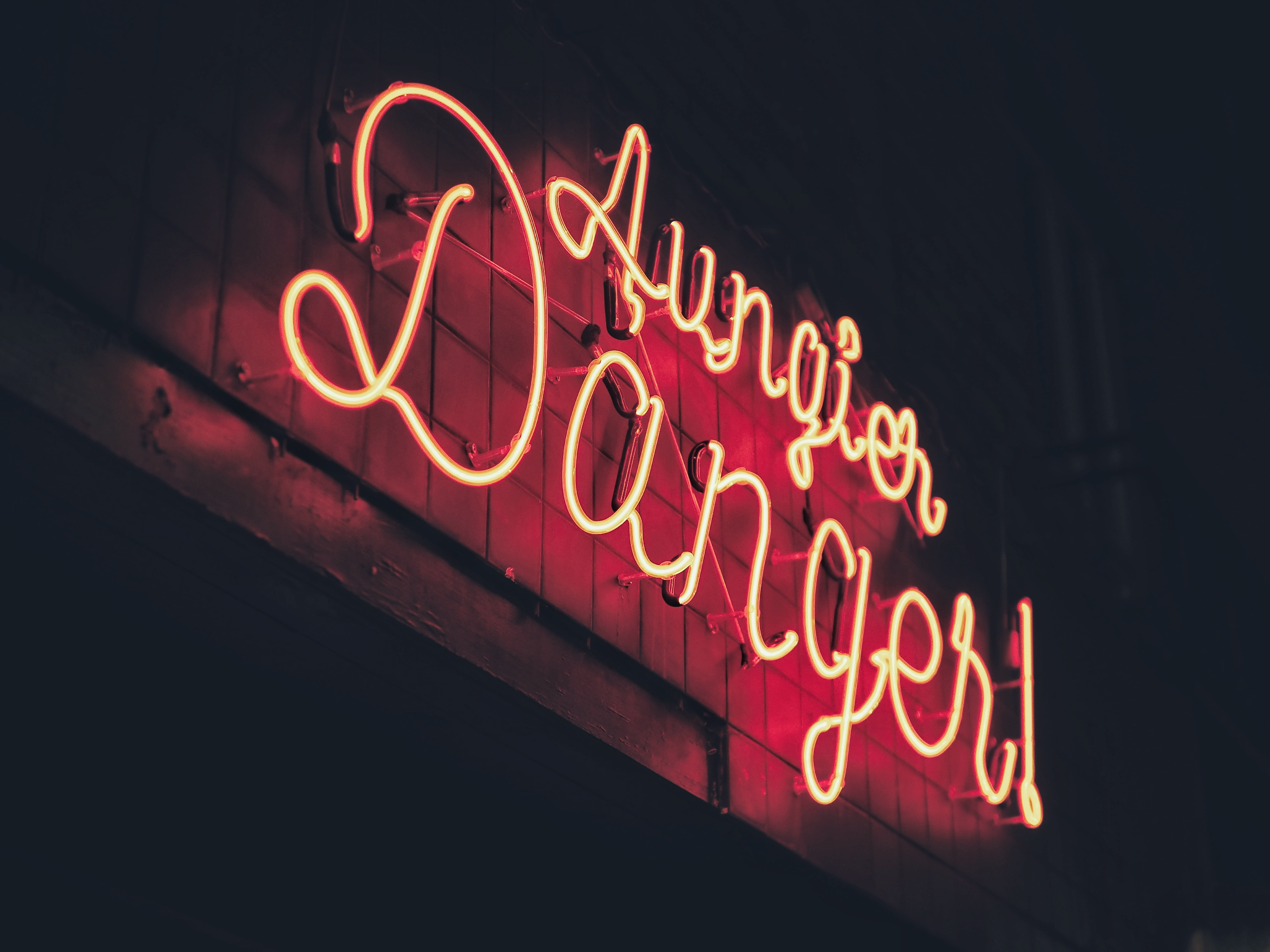 closeup photo of lighted signage