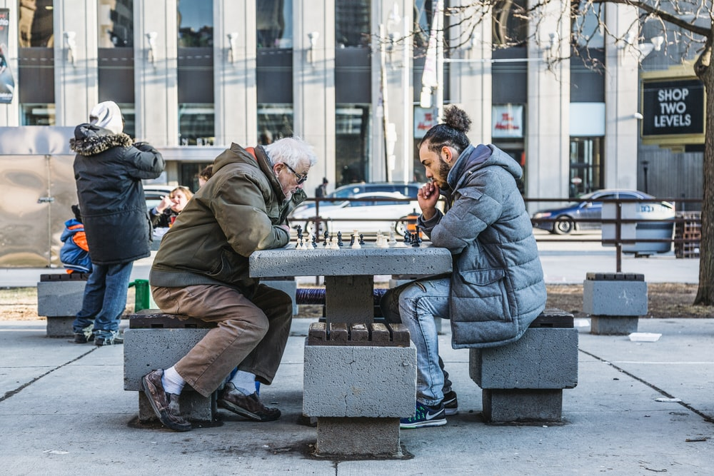 two person playing chess on park