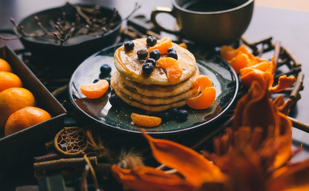 pancakes on black plate