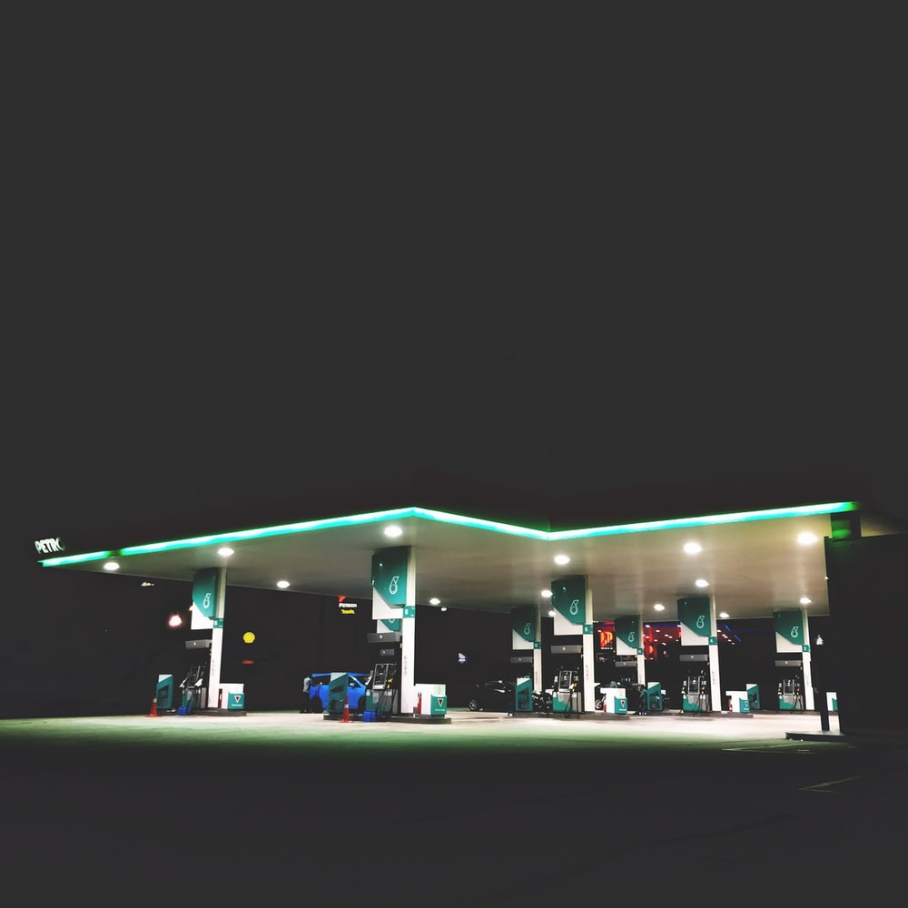gas station with light