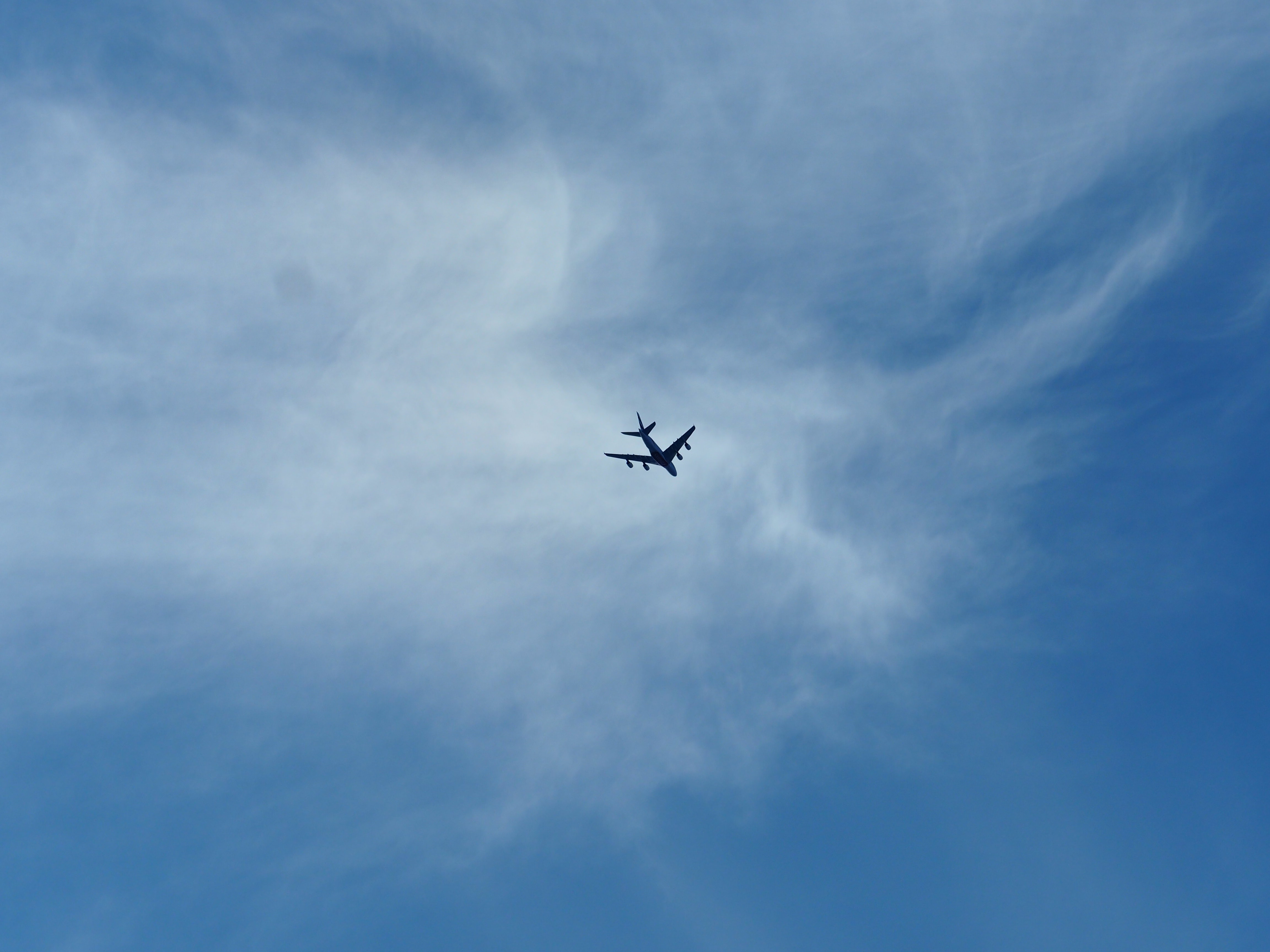 low angle of plane in sky
