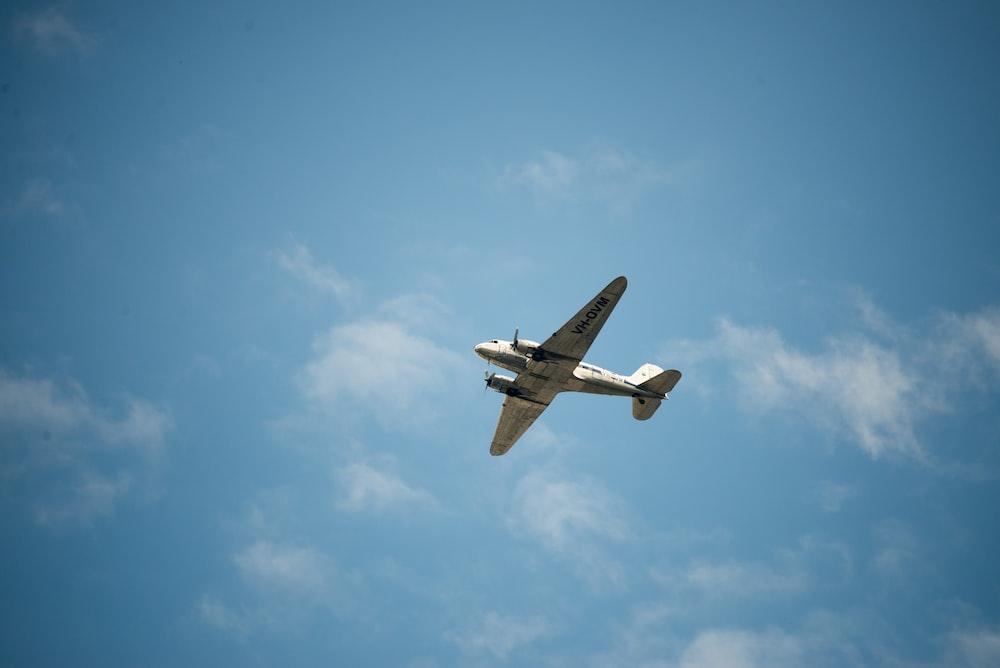 low angle of white monoplane