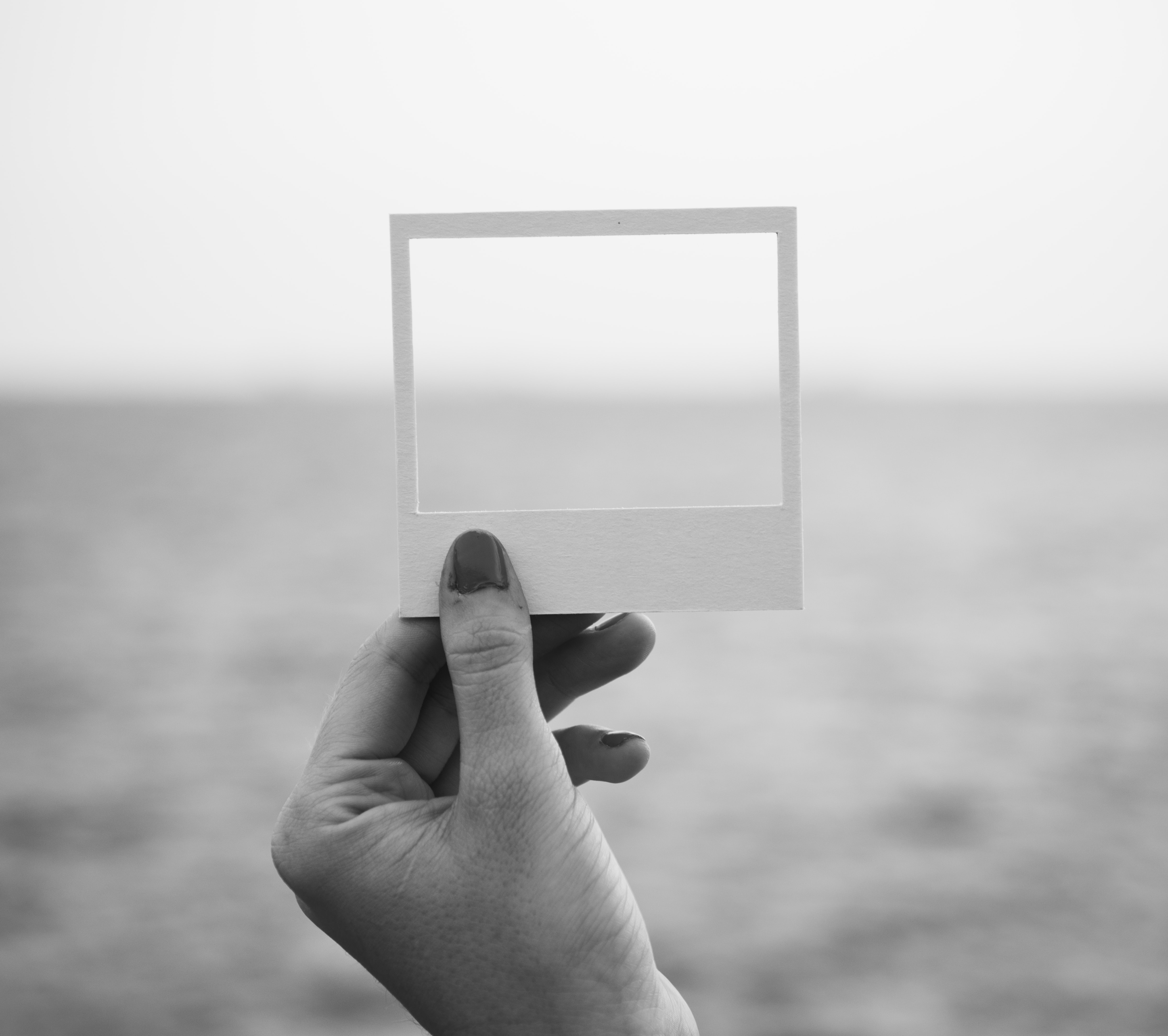 grayscale photo of insta photo frame