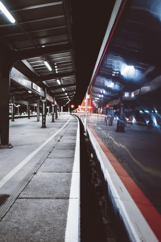 timelapse photo of white train