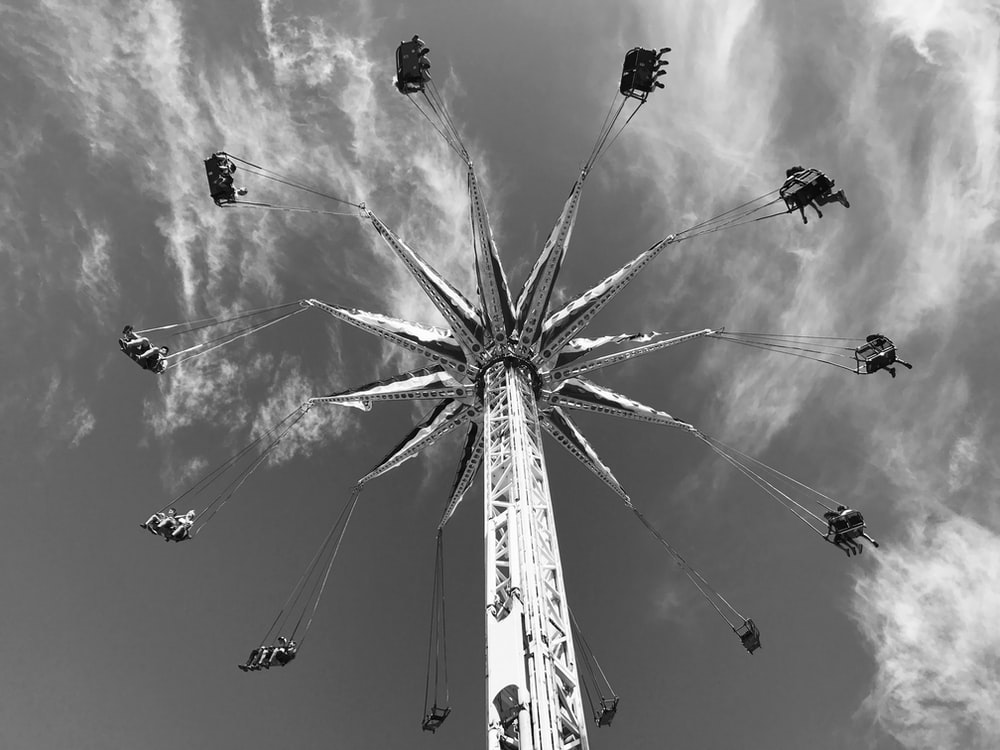 grayscale photo of a ride