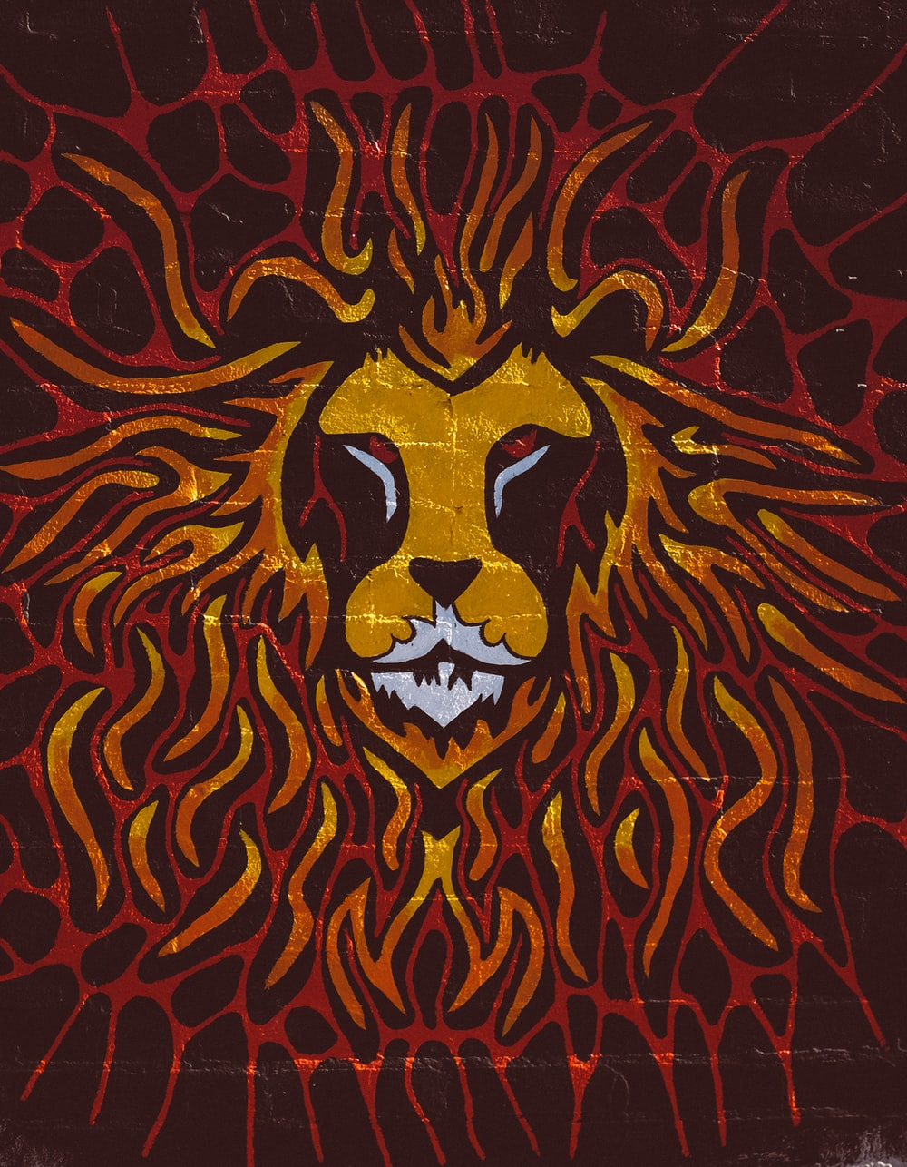 brown and red lion painting
