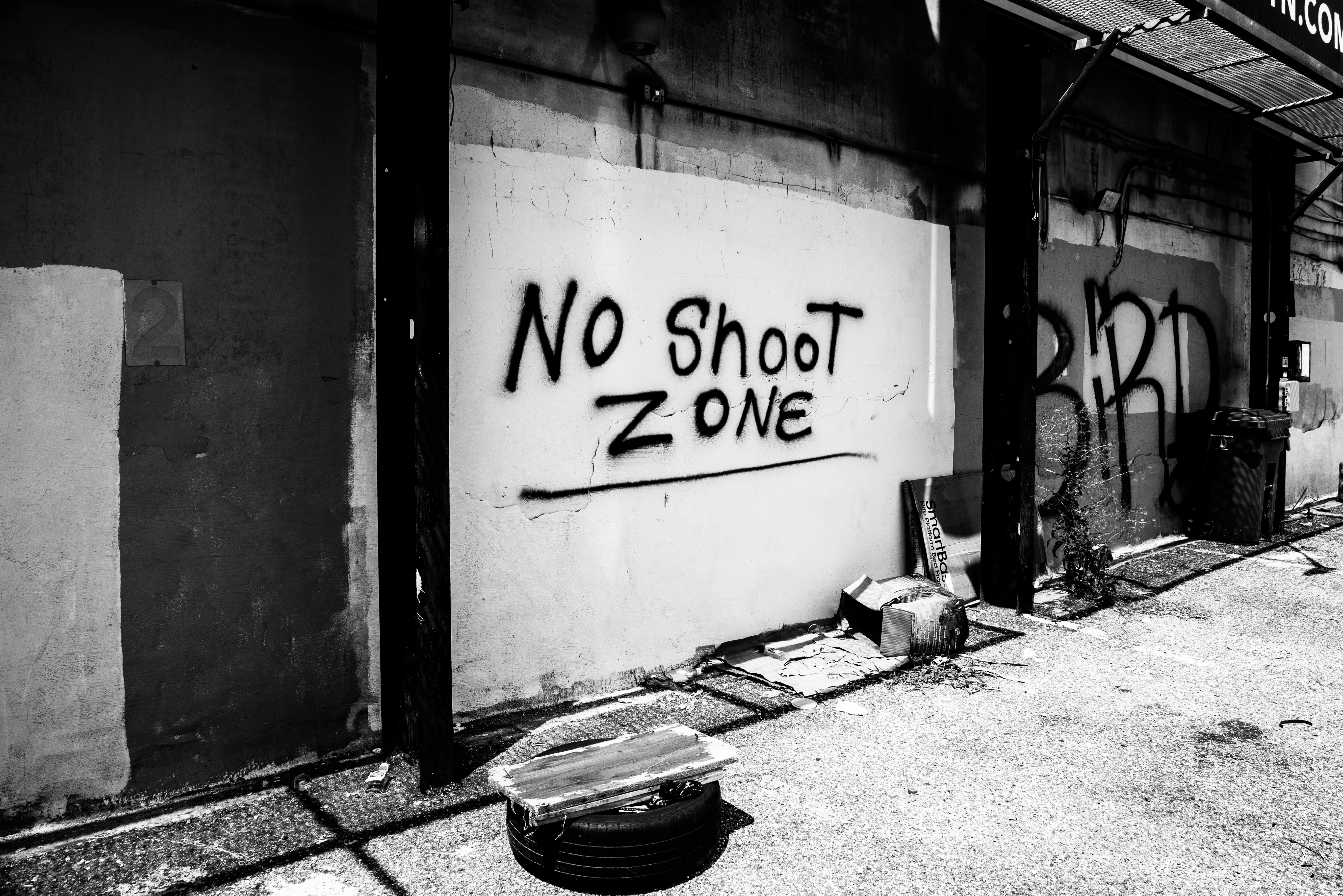 No shoot zone wall in greyscale photography