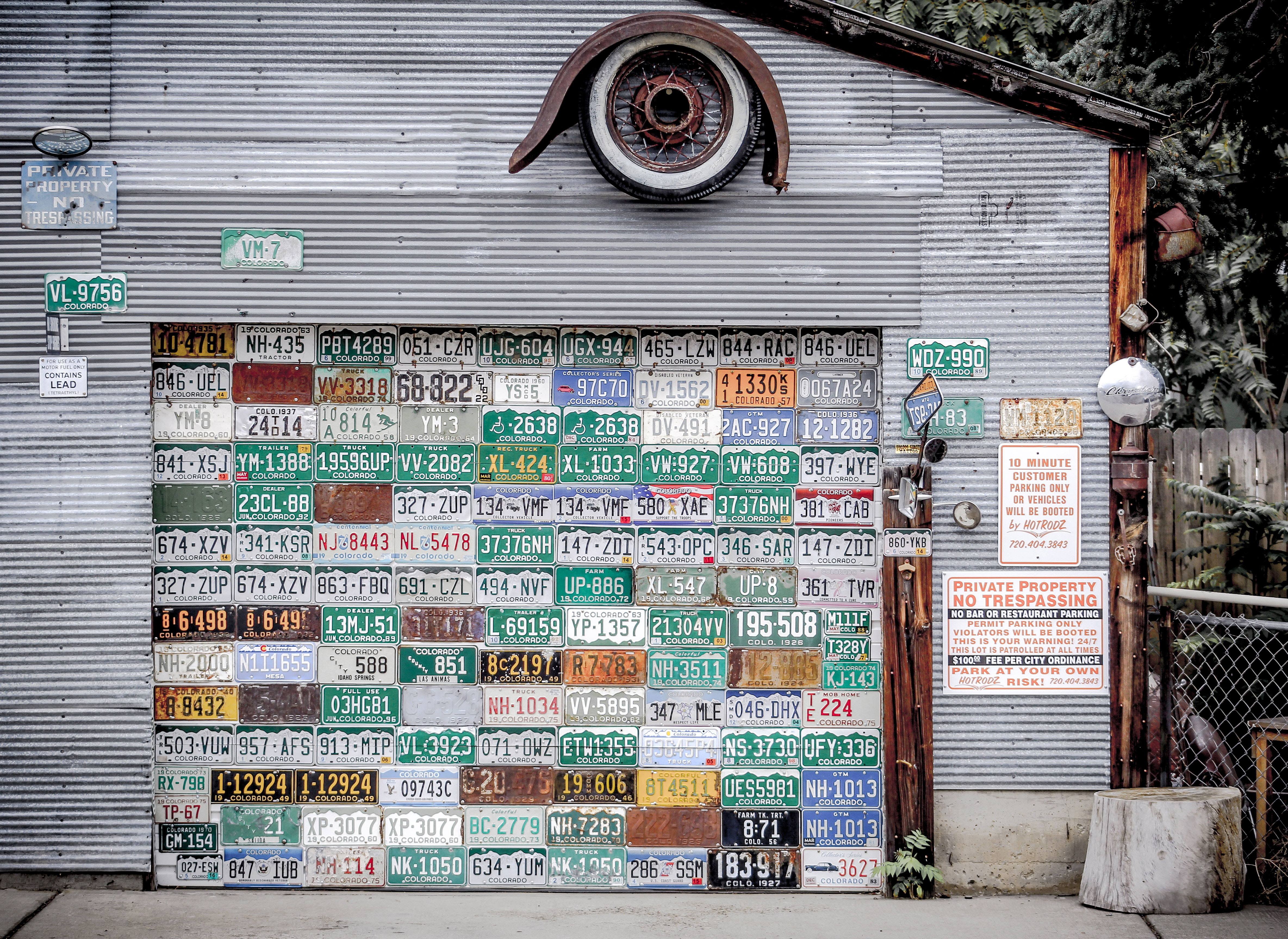 assorted license plates hanging on gray wall