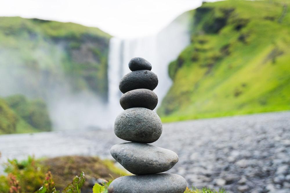 cairn stone in Skogafoss Falls, Iceland