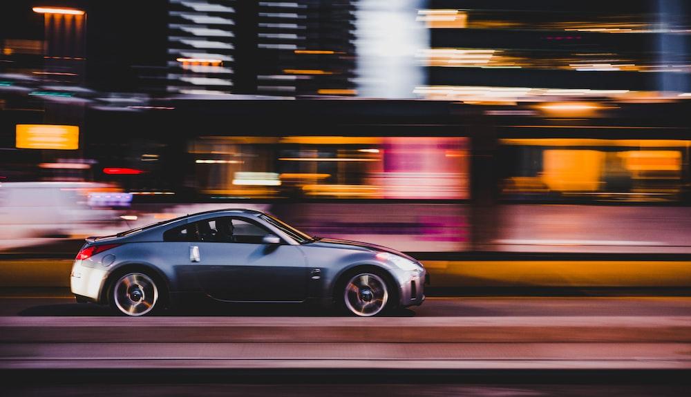 car running at a lightning fast speed.