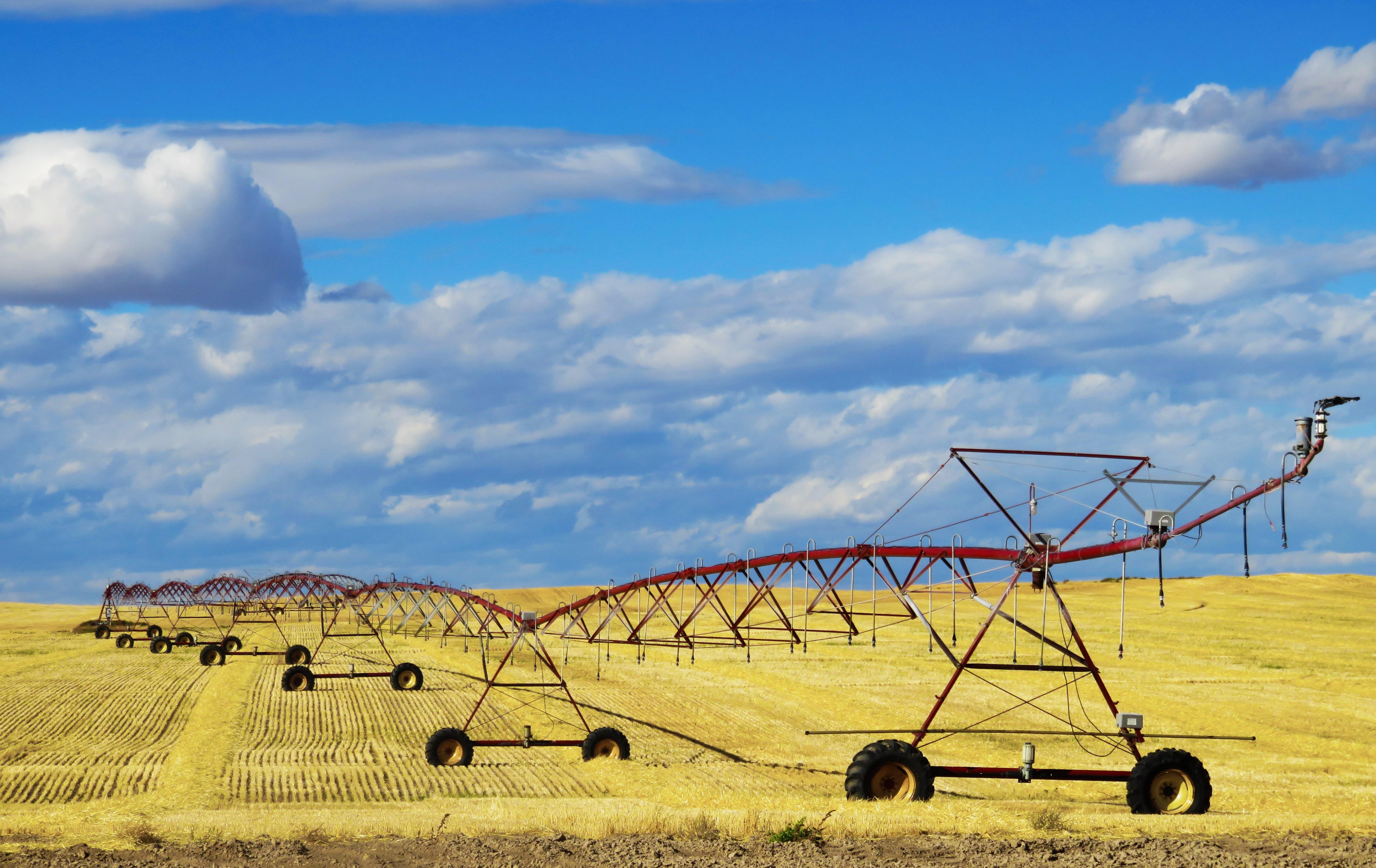 red farming tool on crop field