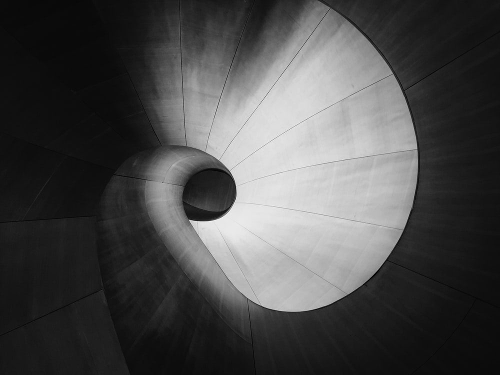 spiral gray steel tunnel
