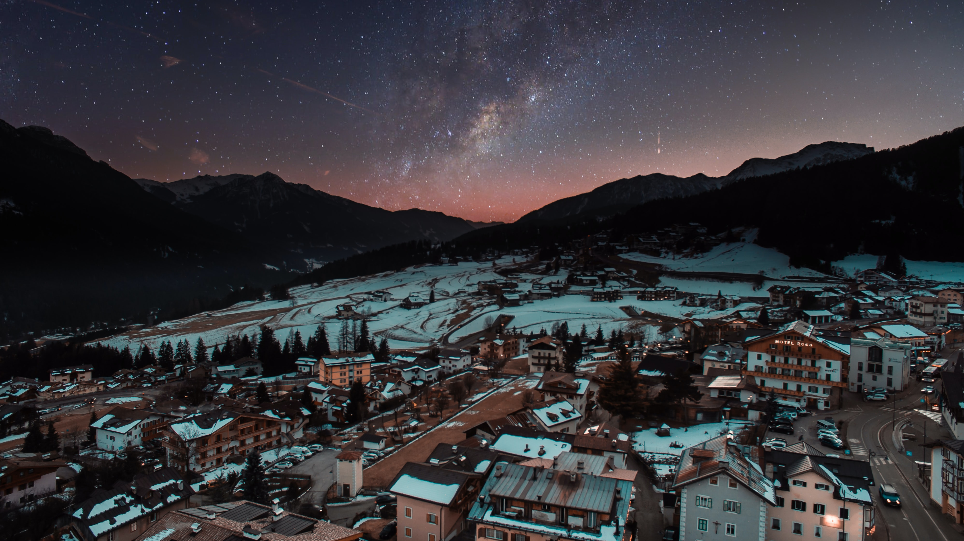 town under starry sky