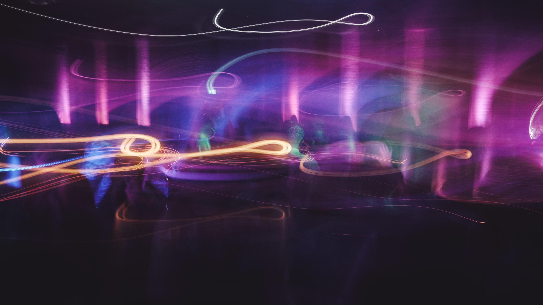 purple and orange LED light