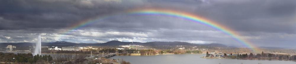 aerial photography of rainbow