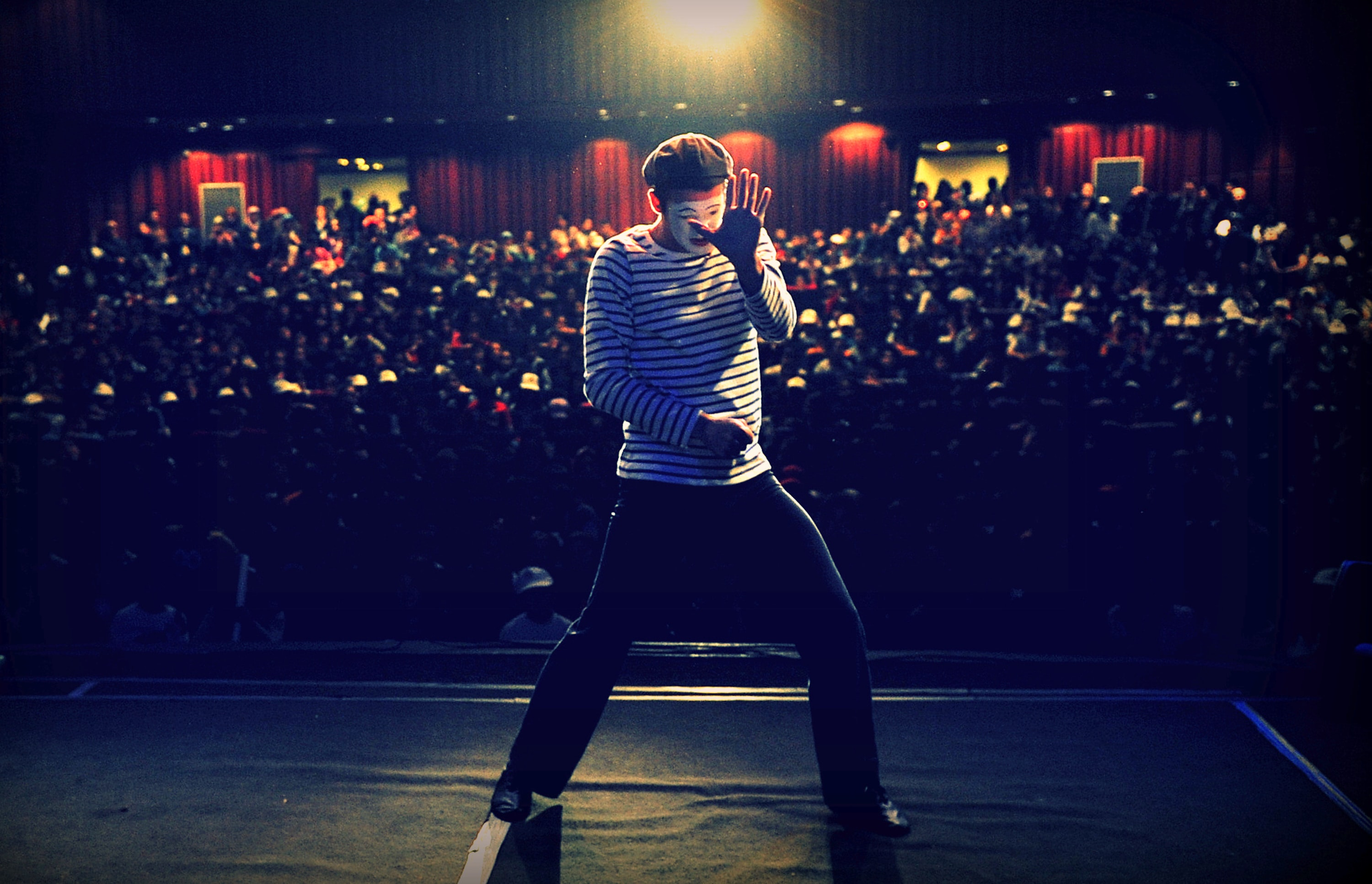 man performing on stage