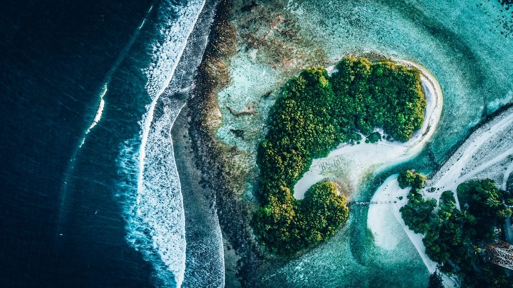 aerial view photography of island