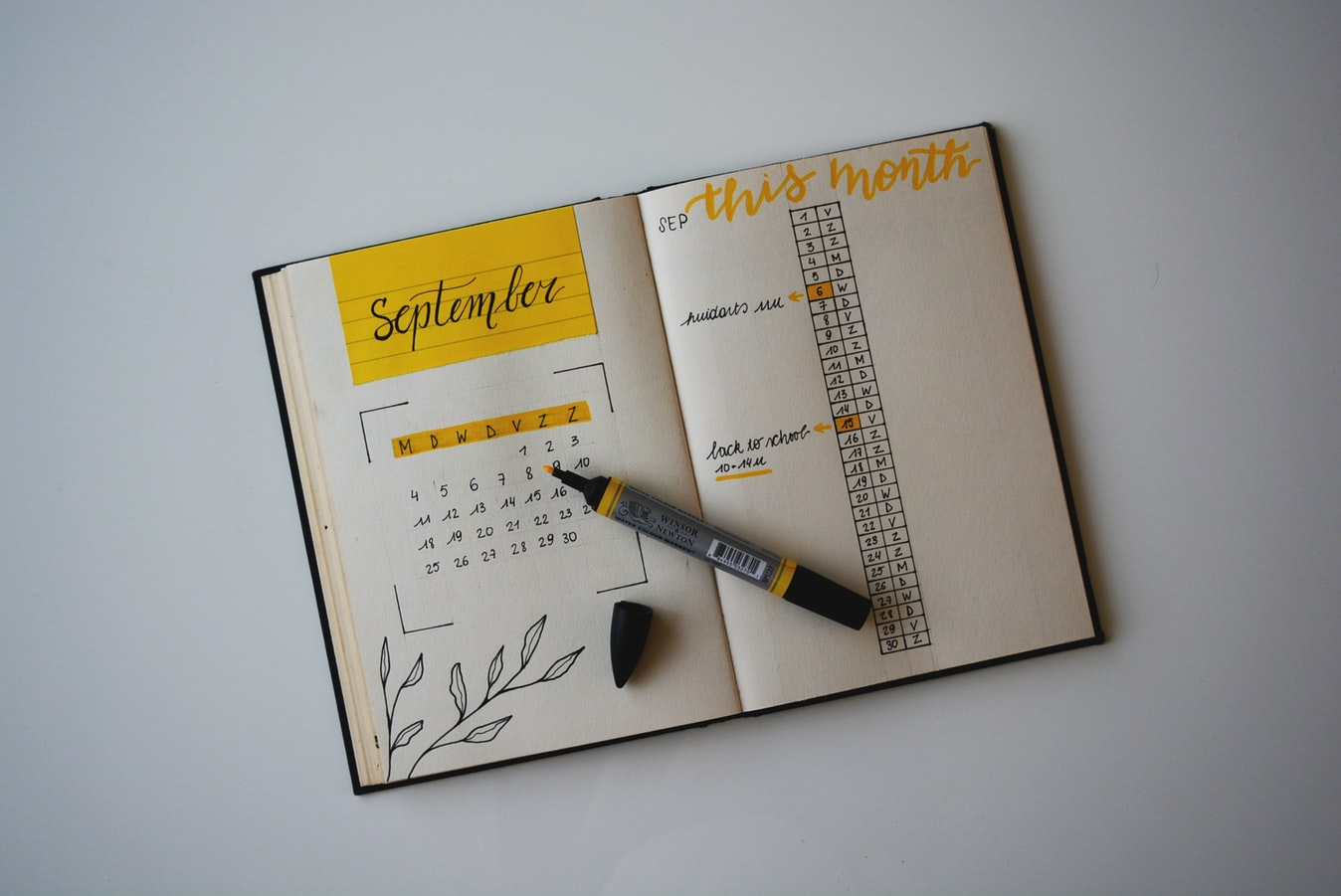Bullet Journal Monatsansicht