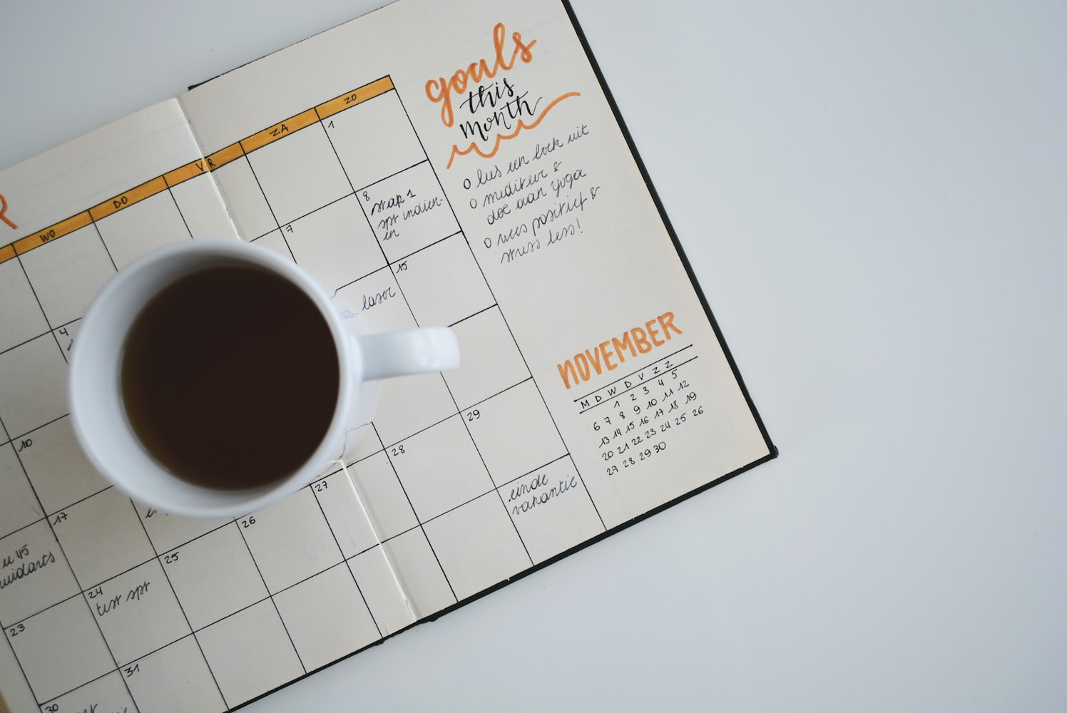 coffee and planner