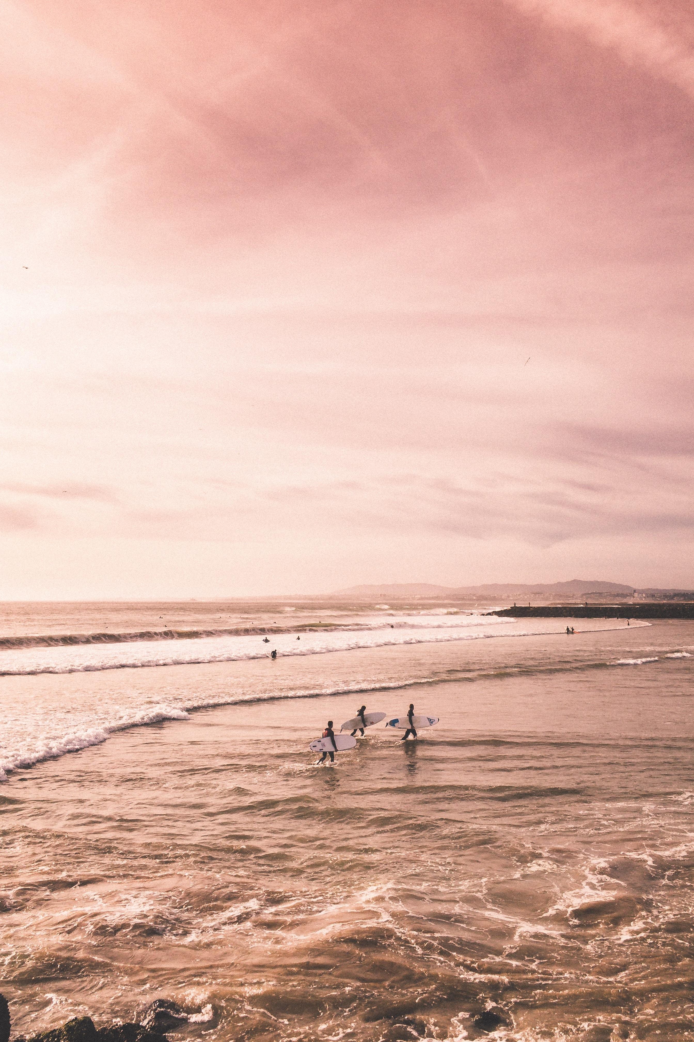 several people standing on seashore