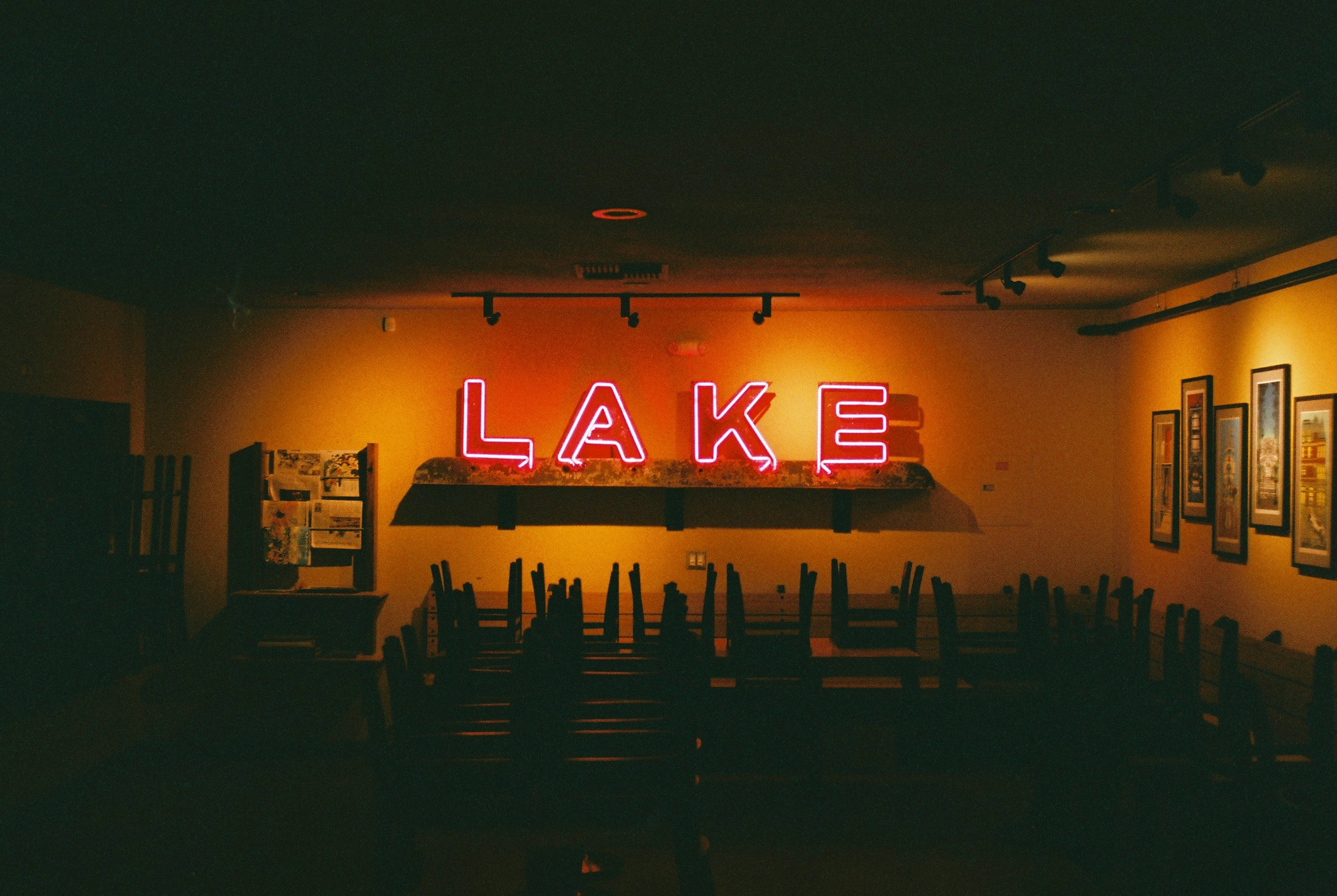 red Lake LED signage inside room