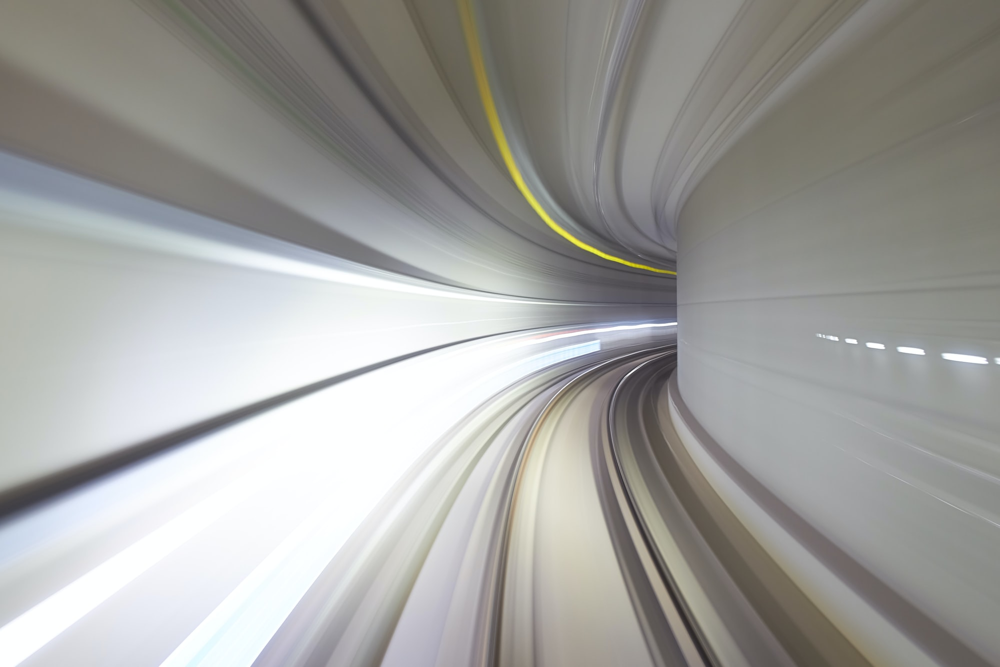 The autonomous subway in Suwon South Korea opened and it has a front glass window.  This is a long exposure going through the tunnel.