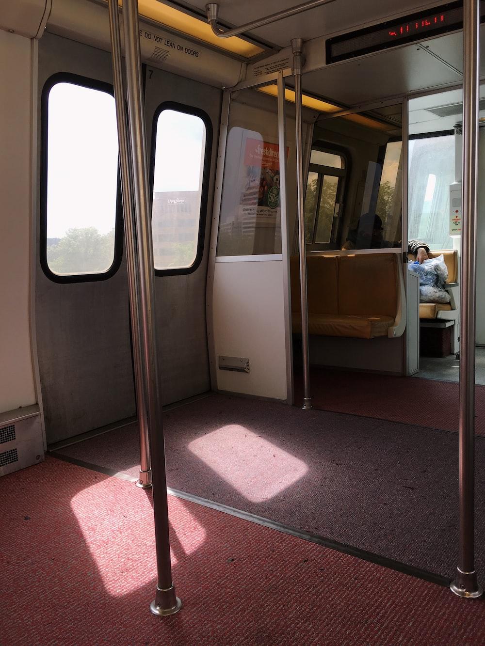 turned LED signage inside train