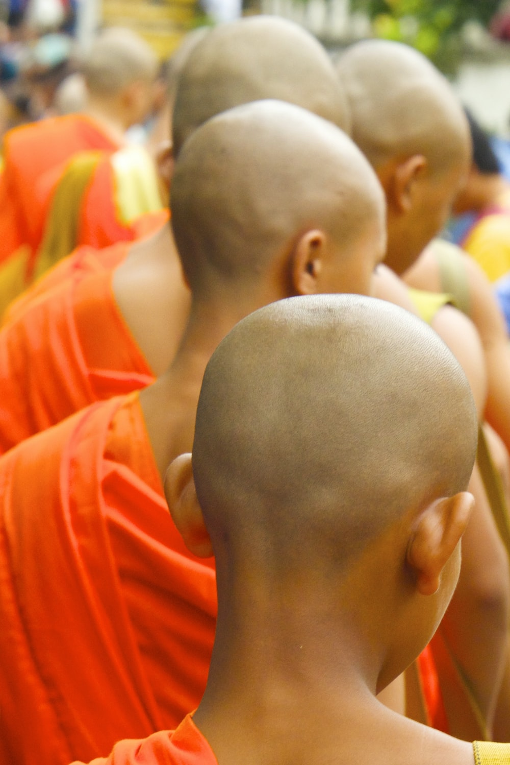 group of monks lining up