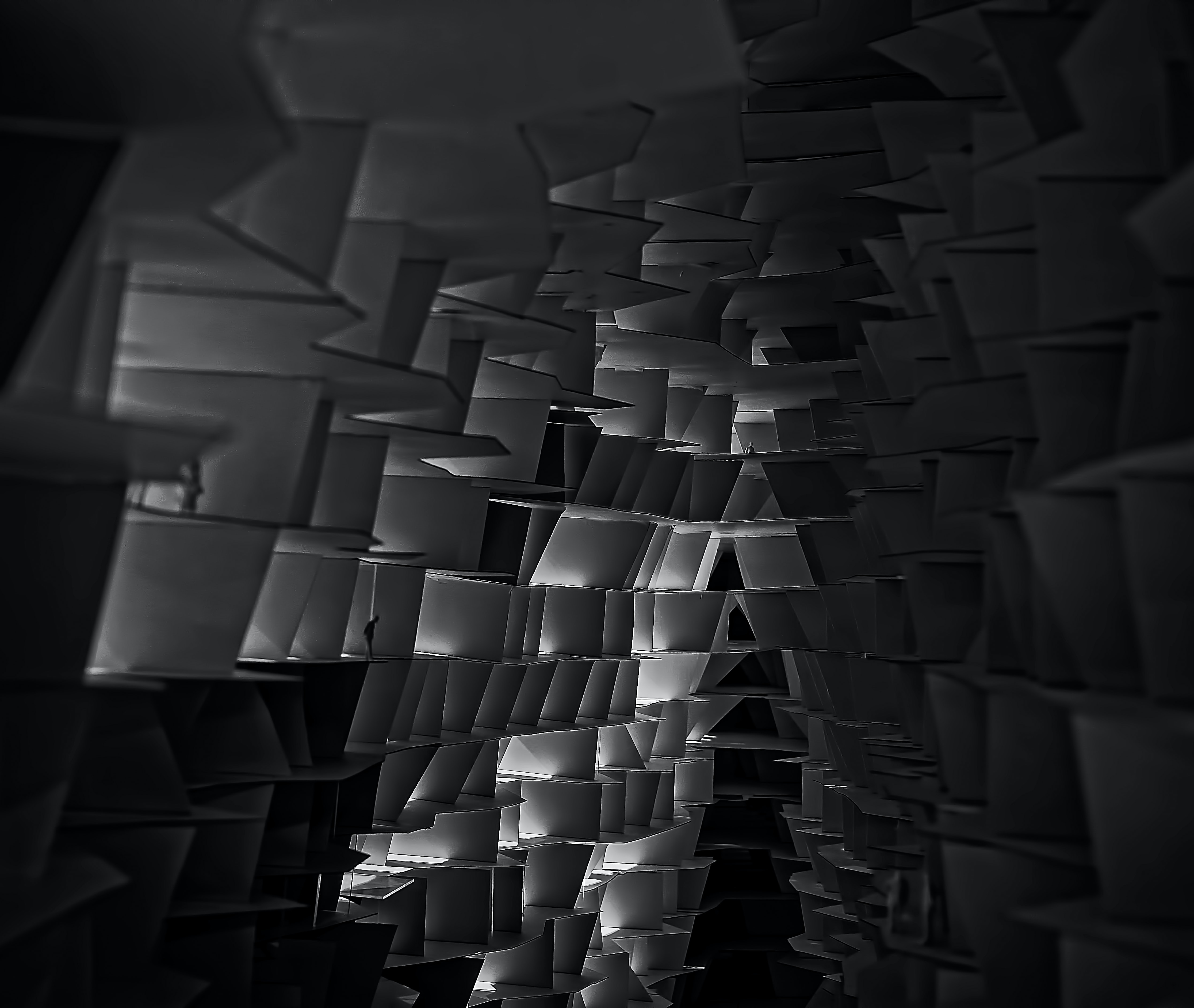 grayscale structural photography
