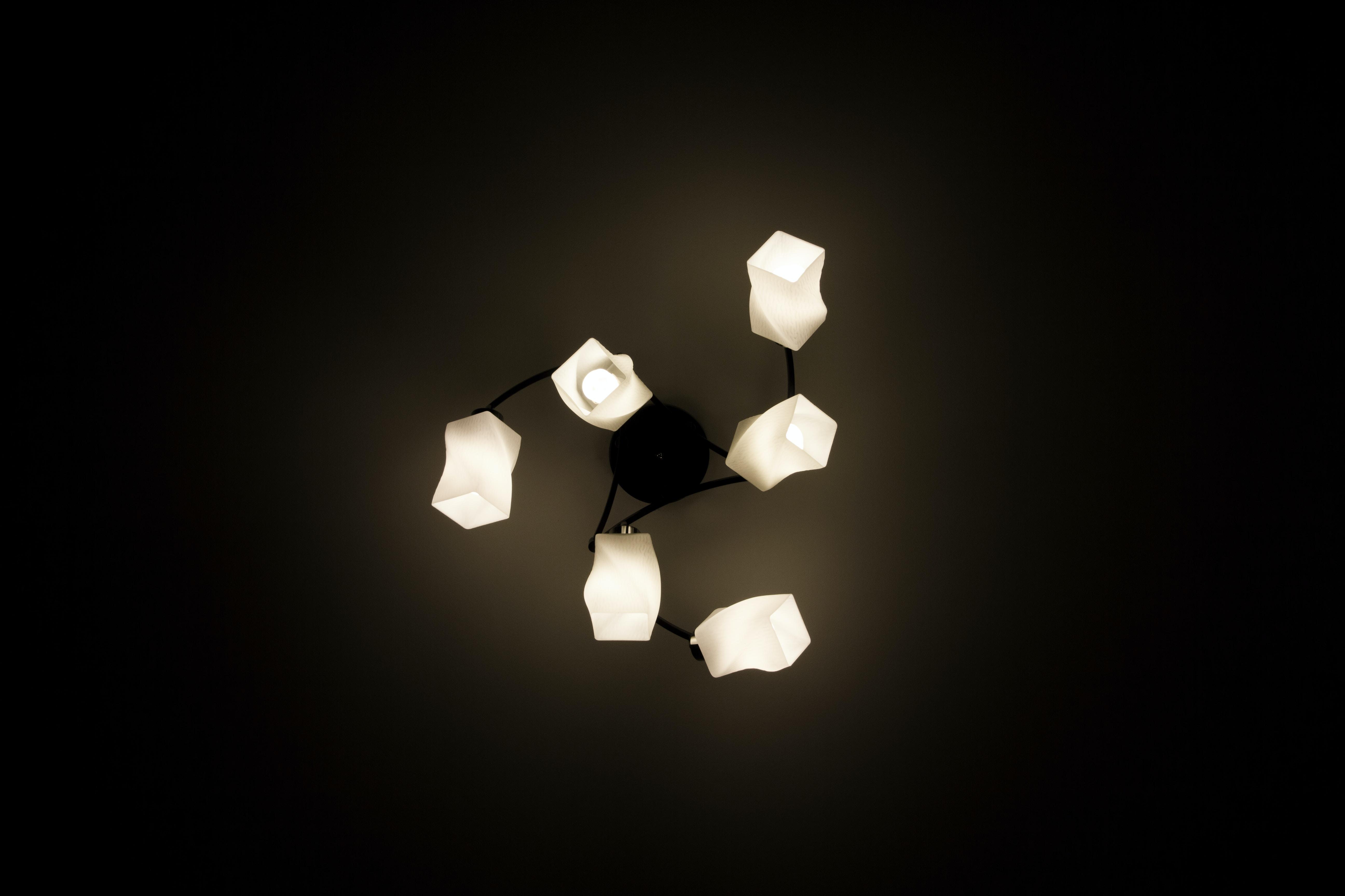 white 6-arm downlight chandelier