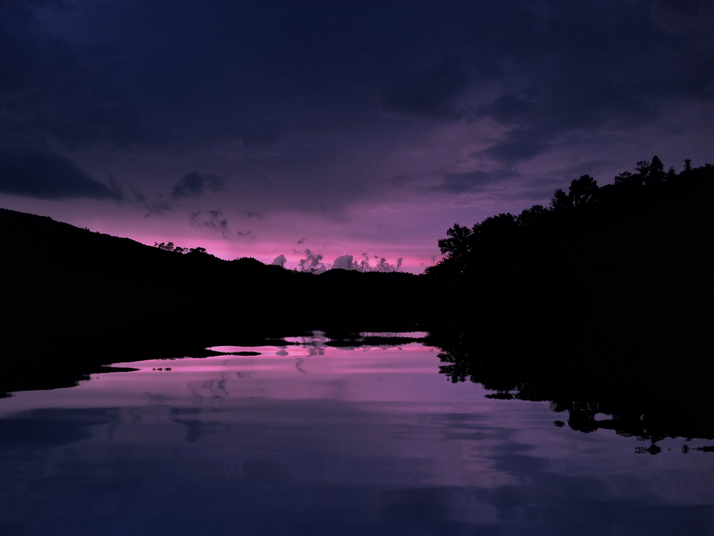 silhouette photography of lake