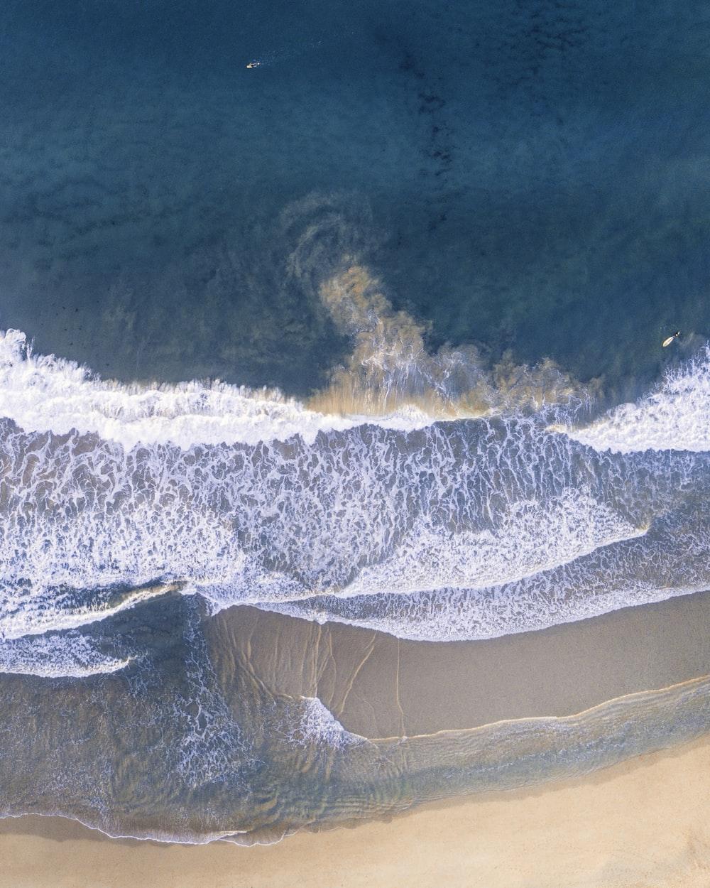 high-angle photography of beach shore