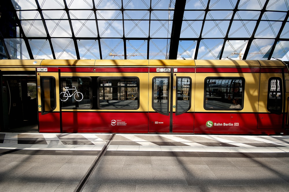 yellow and red train