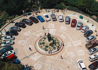 bird's-eye view photography of parked cars
