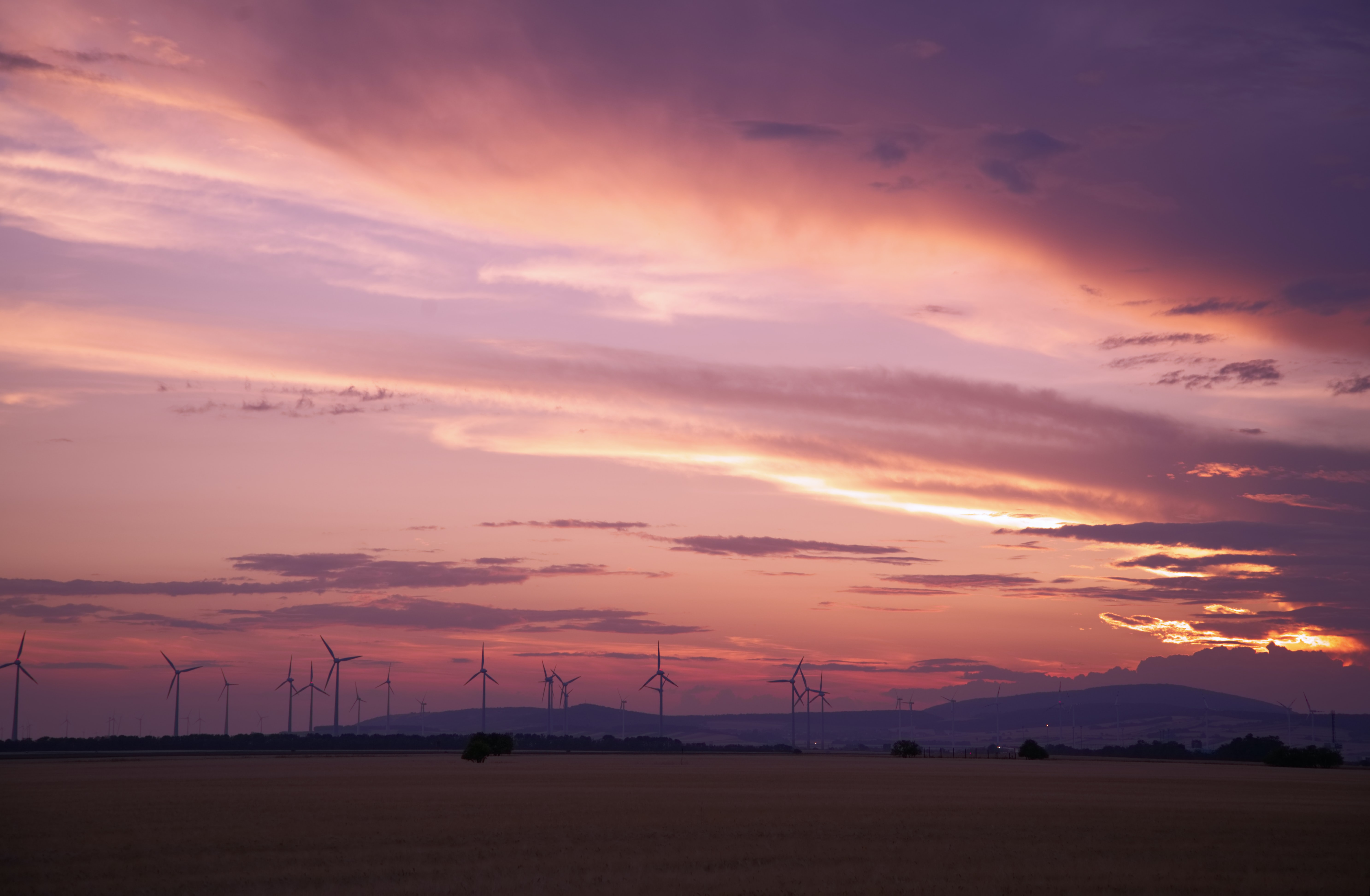 photography of wind will during sunset