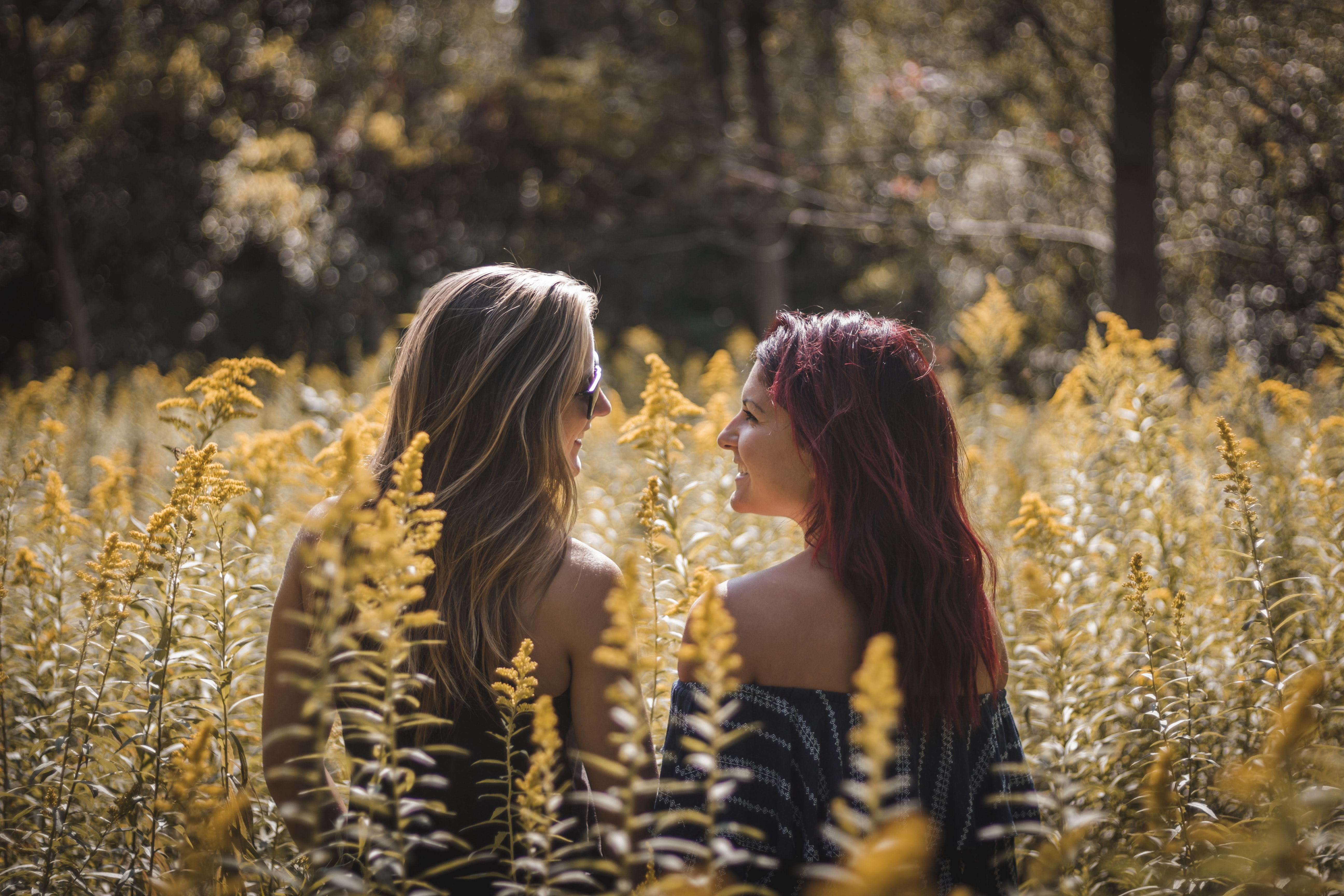 two woman facing each other on brown plant fields during daytime