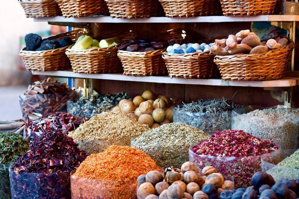 vegetables in wicker baskets during daytime