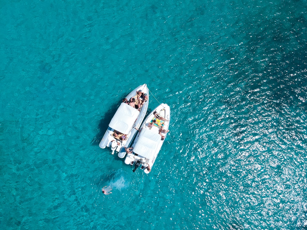 aerial view photography of two boats on body of water
