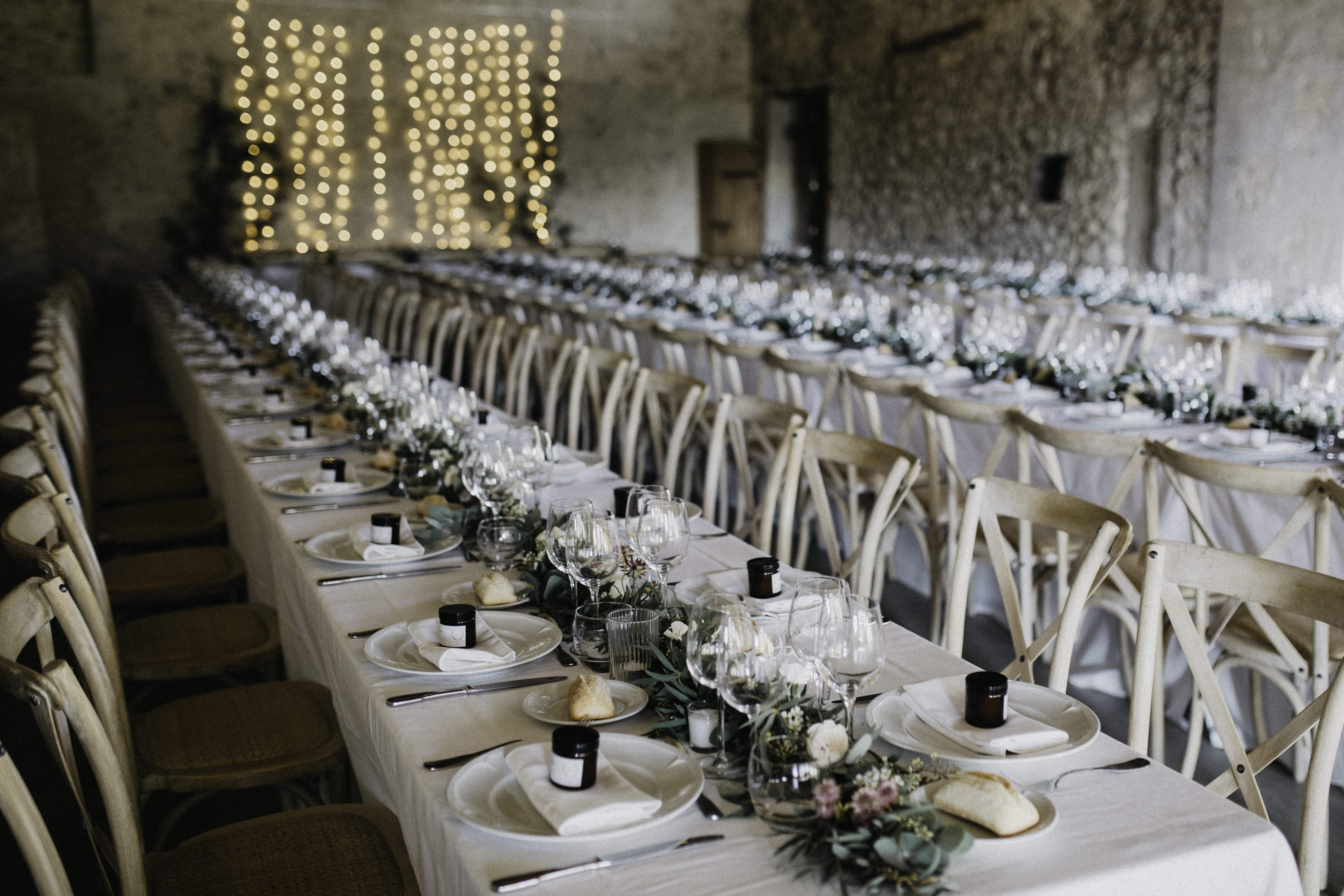long table with chairs set